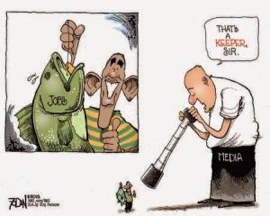 Cartoon - Obama Jobs and Media