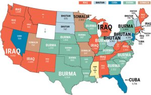 map with predominant refugee group in your state