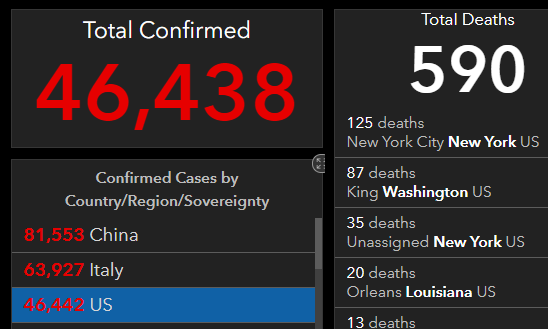 United States Wuhan virus infections and deaths